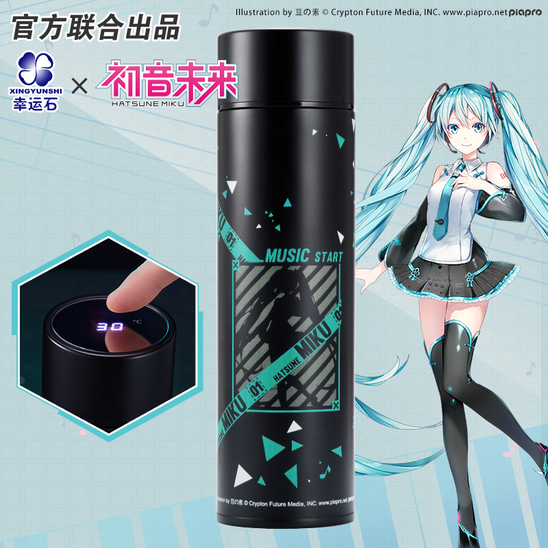 Hatsune Miku Thermos Steel Water Bottle LED Display Temperature Sensing Cup Manga Role <font><b>Kagamine</b></font> <font><b>RIN</b></font>&LEN <font><b>Vocaloid</b></font> image