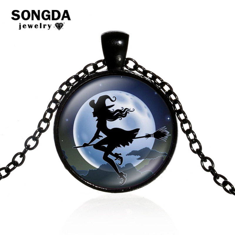 Mens necklace Flying Witch With Broom Long Necklace Chain Glass Cabochon Round Pendant Wiccan Pagan Occult Halloween Jewelry