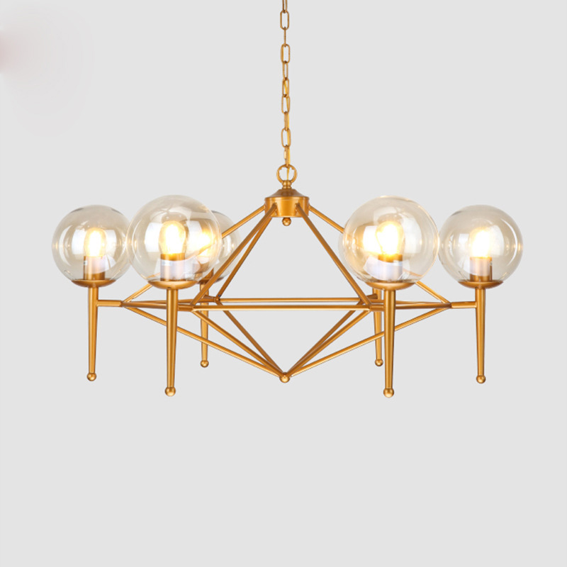 Modern Round Glass Ball Hanging Light LED Vintage Industrial Gold Droplight Living Room Retro Classic Copper Pendant Lamp light modern glass round white ball brass pendant light led chain cord copper lamp fixture for living room window shop home decoration