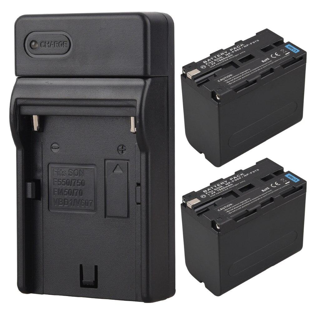 2 pcs Réel Capacité 7800 mah NP-F970 NP-F960 NP F970 NP F960 Appareil Photo Numérique Batterie + Chargeur USB pour Sony NP-F960 NP-F970 Batterie