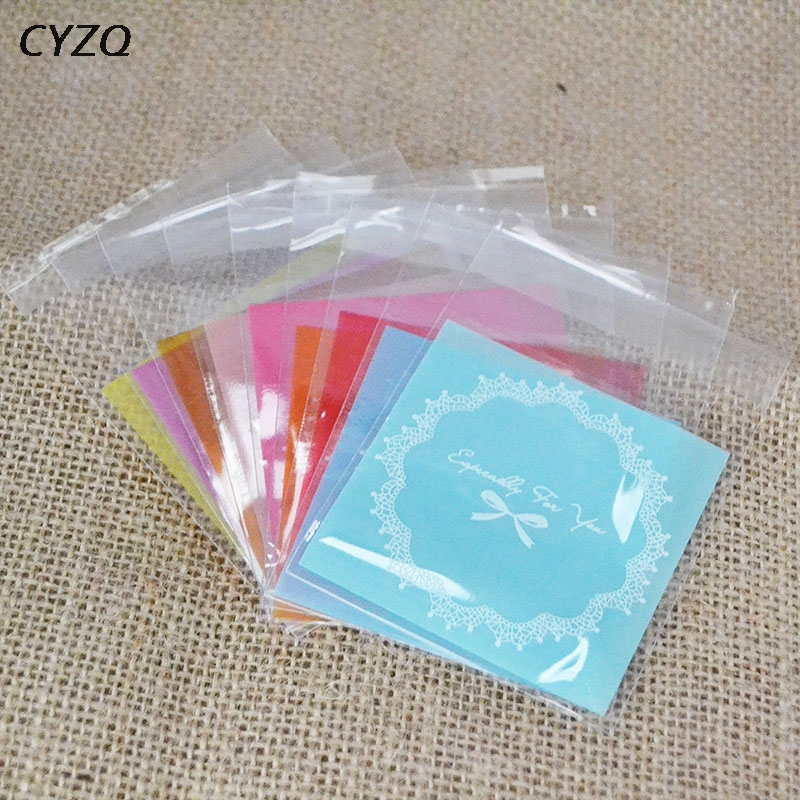 100pcs 7cm OPP Cute Bow Design Cookie Baking Wedding Gift Packaging Bags Christmas Party Cookie Candy Self Adhesive Plastic Bag