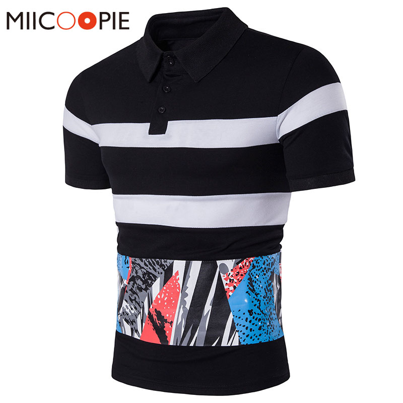 Men   Polo   Brand Clothing Lapel Striped Stitching Printed Short Sleeves   Polo   Shirt Casual Tops Camisa   Polo   Masculina Cotton Tee