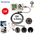 Armgroup micro usb endoscopio cámara 5.5mm lente ajustable 6led impermeable boroscopio endoscopio 2 m usb android teléfono otg usb