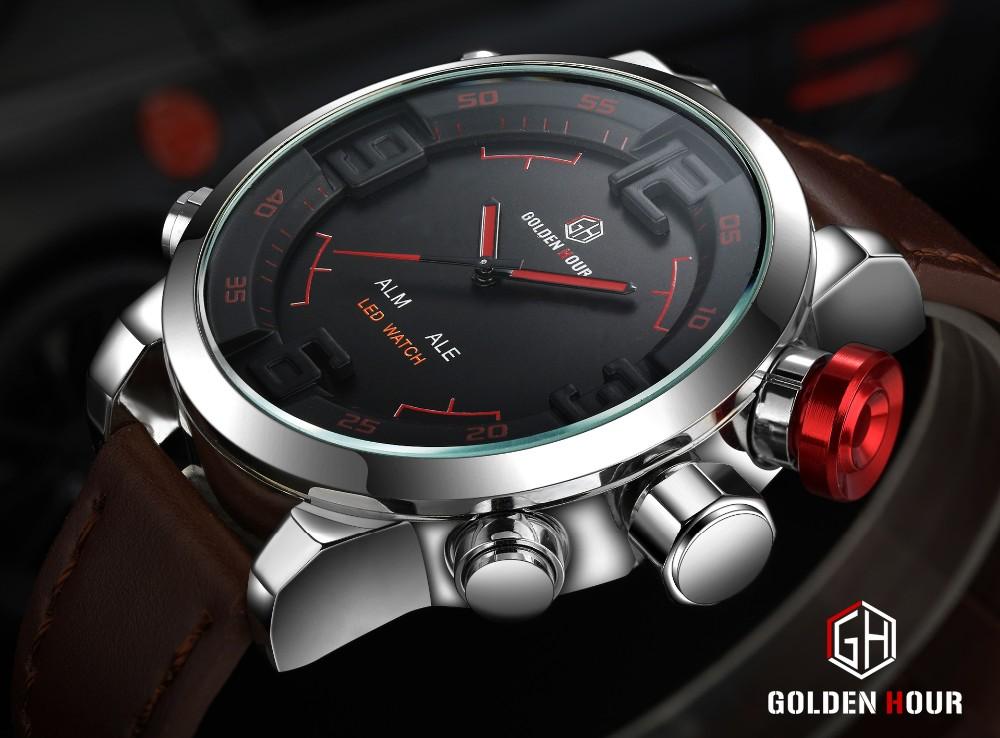 ร้อนยี่ห้อนาฬิกาผู้ชายสบายๆดูมัลติฟังก์ชั่Ledนาฬิกาผู้ชายฉลามนาฬิกาสไตล์ปลุกควอตซ์กีฬาน... 13