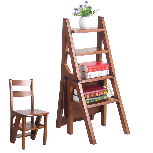 Convertible Multi-functional Four-Step Library Ladder Chair in 3 Color Library Furniture Folding Wood Chair Step Ladder For Home