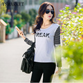 Spring New Women's Stylish Casual Long Striped Sleeve Hot Slim Fit T-shirts Letter Pattern Plus Tops Female Undershirts E1616