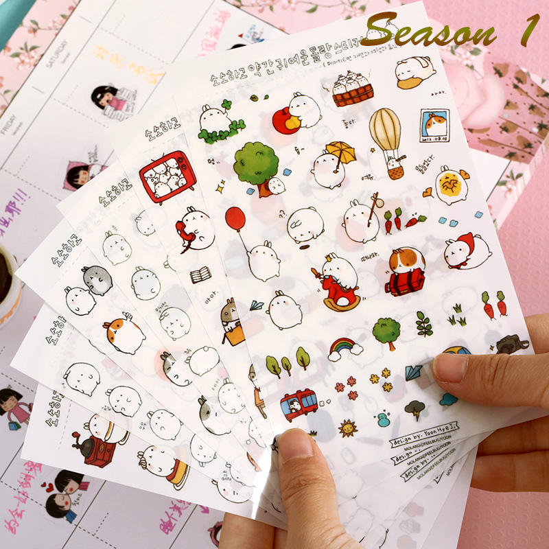 6 Pcs / Pack Korea Molang Stupid Meng Super Cute Rabbit Yuangun Pet Decorative Stickers Diary Stickers 3 Styles To Choose шлепанцы levi s®
