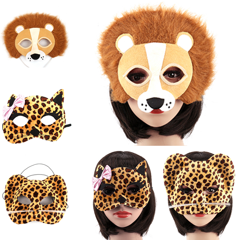 1 st Halloween Party Animal Masks Cosplay Masque Kostym Tillbehör Panda Fox Lion Leopard Wolf Event Party Supplies