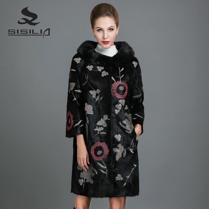 SISILIA 2017 Nueva Real de Piel De Visón Abrigo de Visón Moda Mujer Chaquetas Largas de Alta Calidad de piel de Visón Abrigos De Mujer