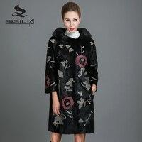 SISILIA 2017 New Real Mink Fur Coat Women Fashion Mink Jackets Long High Quality Mink Fur