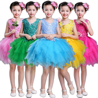 Leaves Applique Children Concert Dance Competition Costume Kids Blue Green Yellow Hot Pink Chiffon Short Dress for Girls