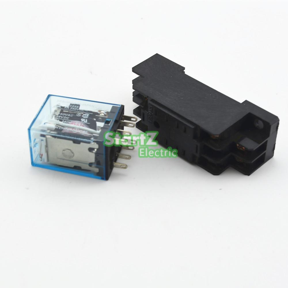 10pcs Relay My2nj 24v Dc Small 5a 8pin Coil Dpdt With Socket 8 Pin Connection Base