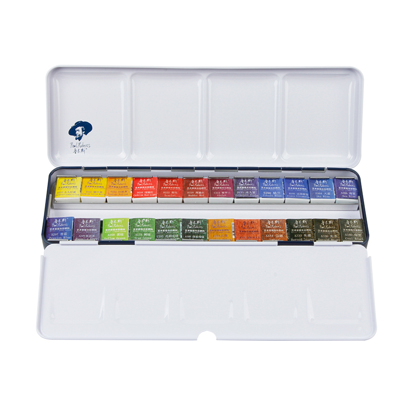 Paul Rubens Solid Watercolor Pigment Clear New Student Beginner Painting Watercolor Paint Box Portable Art Supplies