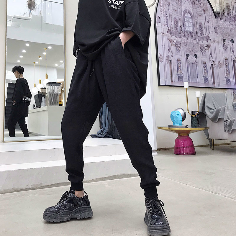 Men 39 s trousers new summer 2019 slim leg trousers tracksuit trousers loose nine points casual personality youth men 39 s wear in Casual Pants from Men 39 s Clothing