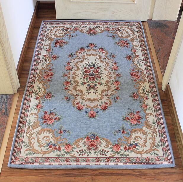 European Style Flowers Jacquard Carpet Area Rug For Bedroom Livingroom Kitchen Baths Mat Door Mat Anti-Slip Home Decoration