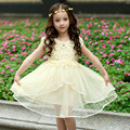 Girl Dress Summer Short Sleeve Princess Dress For Girls Clothes Cotton Kids Clothing Mesh Lace Vestidos Girls 4-13Y DQ213