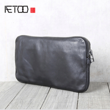 AETOO Handmade cowhide wallet Leather hand bag local focal handmade classic striped hand bag