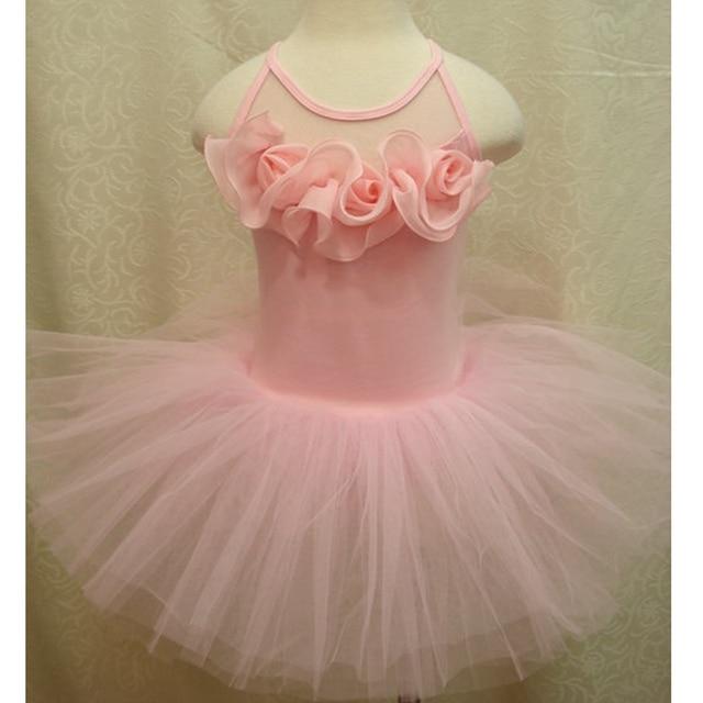 1fae67764f 3D Rose Pink Lace Tutu Sleeveless Ballet Dancing Dress for Kids Girls  Clothes Children Clothing Roupa De Ballet Infantil Menina