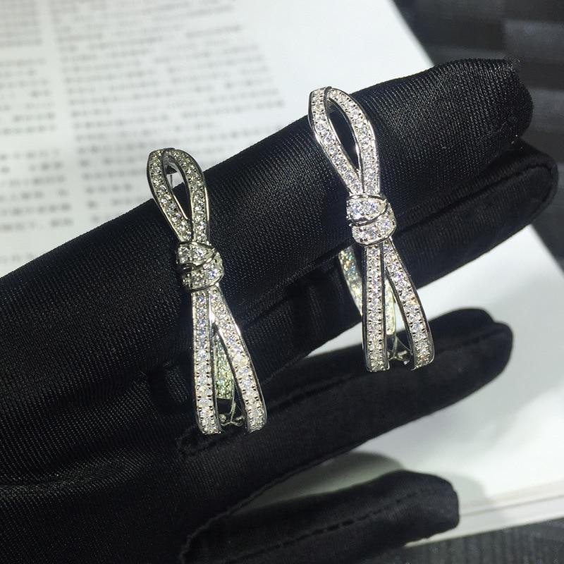 3A cubique zircon boucles d'oreilles pour les femmes de luxe marque 925 Bijoux en argent sterling rose or couleur parti amour X boucles d'oreilles
