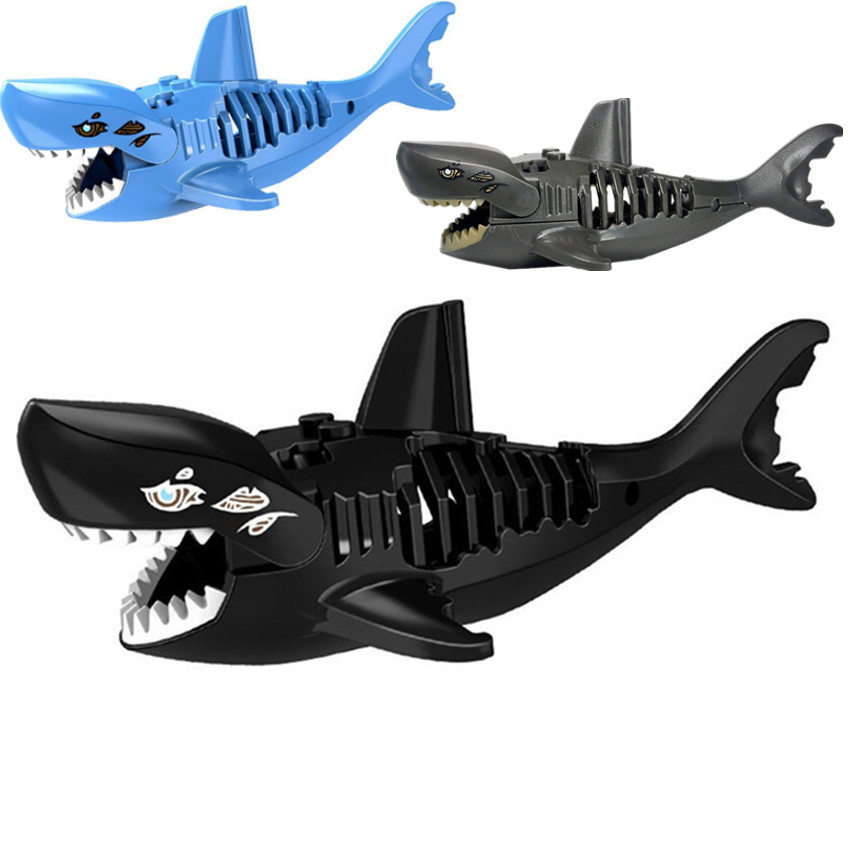 1PC DIY Blocks Toy For Children Gifts Black Shark Pirates Building Blocks Toys Shark Model Building Kids Child Educational Toys