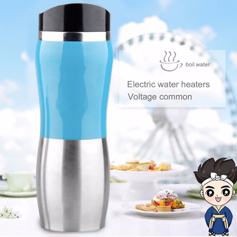 12V Stainless Steel Car Auto Heating Cup Kettle 400ml Hot Water ...