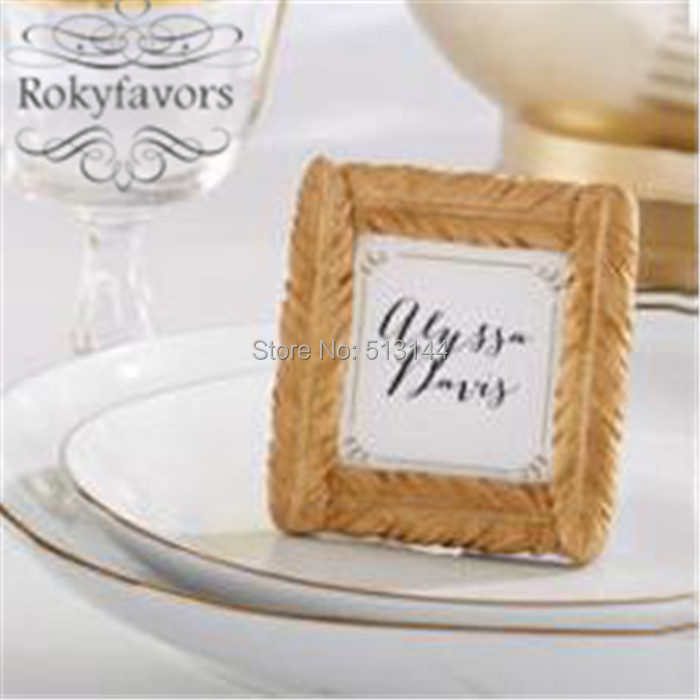 FREE SHIPPING 50PCS Gold Resin Feather Photo Frame Place Card Holder ...
