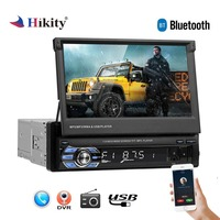 Hikity 1 din Retractable Car Radio MP3 Player 7HD Universal Car Stereo Radio Player with Bluetooth FM USB Support Backup Camera