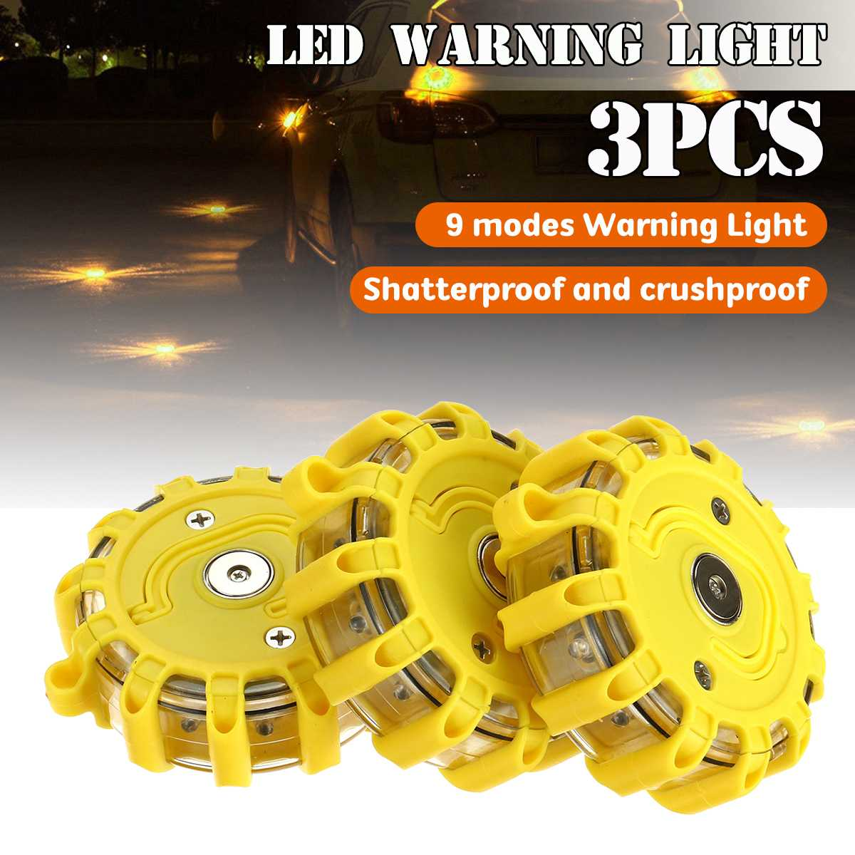 Punctual 1/3pcs 12x Led Emergency Safety Flare Yellow Road Flare Magnet Flashing Warning Night Lights Roadside Disc Beacon For Car Buy One Give One
