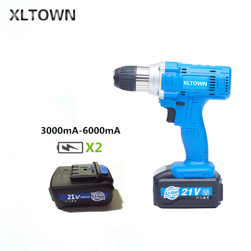 Xltown 21v high speed drill rechargeable lithium battery variable speed electric screwdrivers with 2battery household power tool