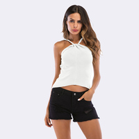 SimAi Sexy Hanging Neck Camis Women Tops 2018 Summer Sexy Sling Vest Sleeveless Knit Cotton Crop Tops