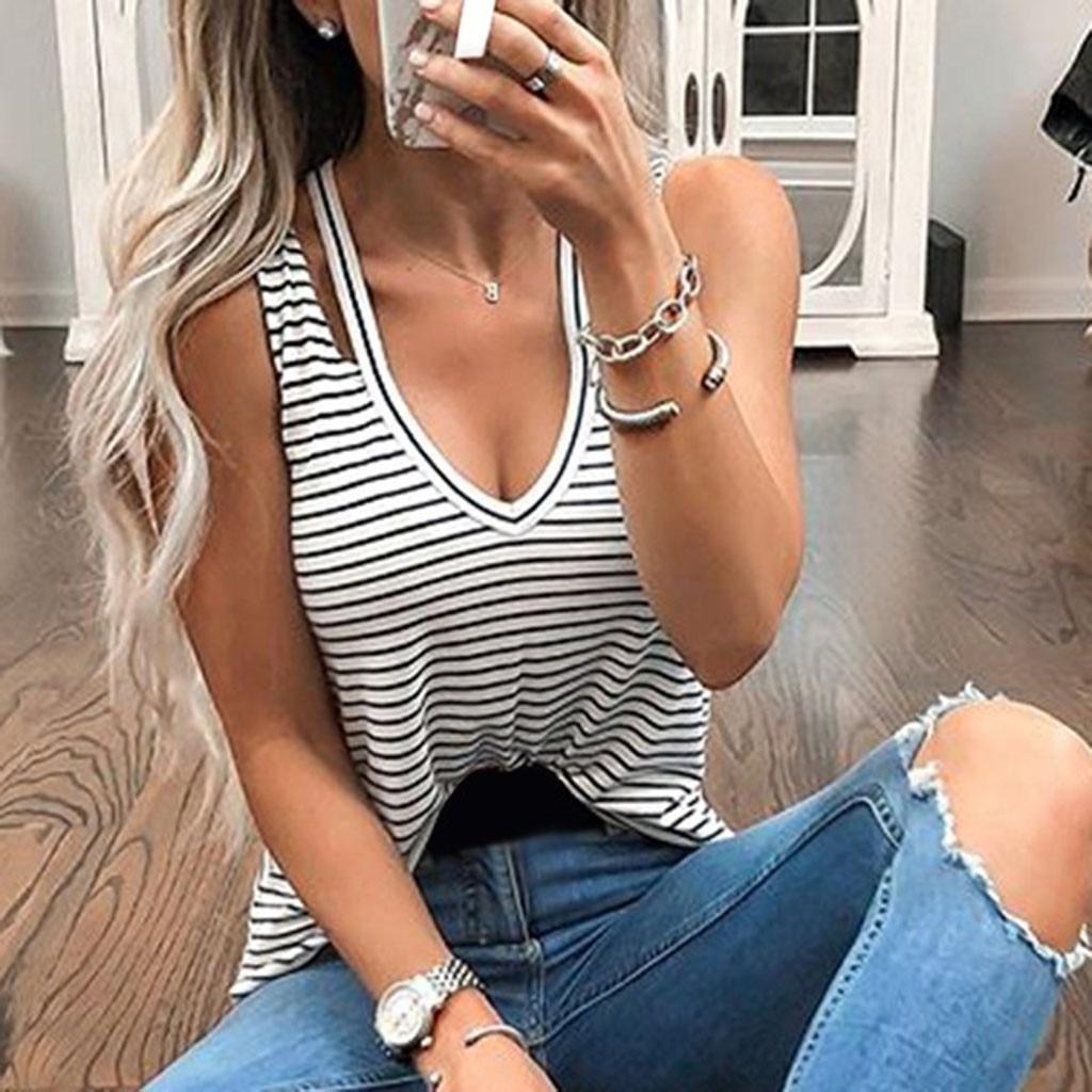 New Sleeveless Black White T Shirt Summer Women's V Neck Striped Sling Casual Vest Sexy   Tank     Tops     Tops   Tees Female Shirts