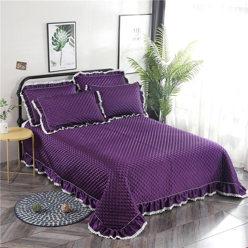 3 Pcs Quilt Kationische Bed Spread Sprei 240x260 Cm Bed Cover Set Matras Topper Deken Kussensloop Couvre Lit Colcha De Cama