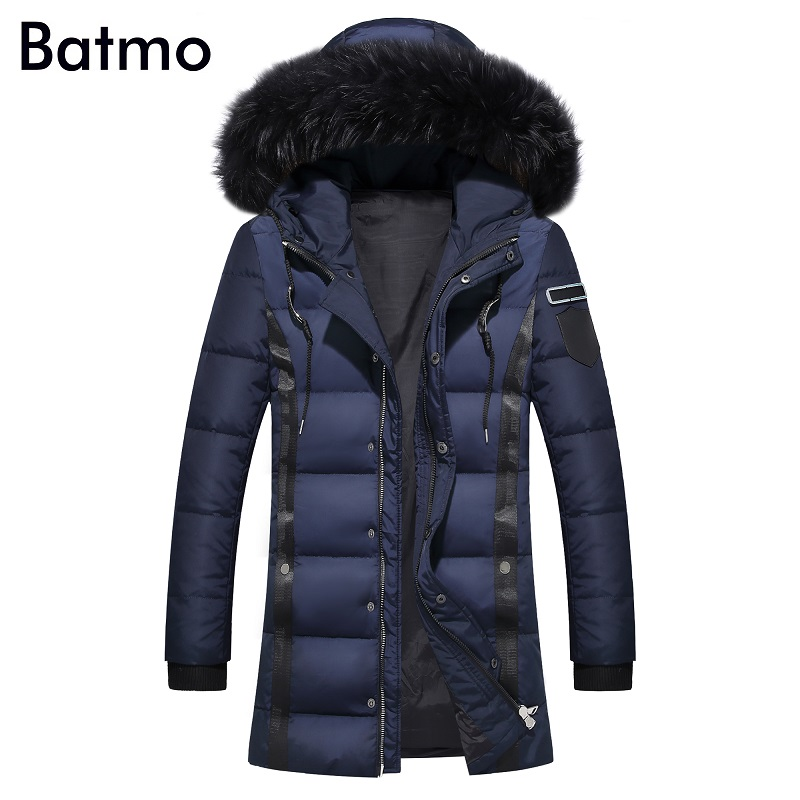 Batmo 2017 new arrival winter Men long section fur collar hooded white duck down jacket coat,4 color,M-3XL.