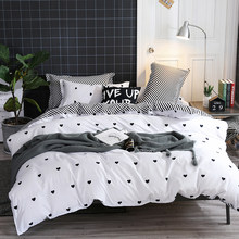 Bonenjoy Black and White Bed Linen Set King Size Heart Printed Bedding Sets ropa de cama y edredones Queen Bed Cover Bedding(China)