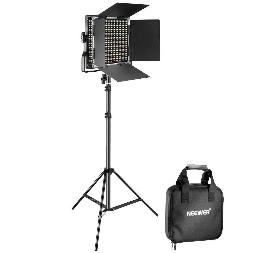 Neewer Bi-color Dimmable 660 LED Video Light With Barndoor+75 inches Stand Kit for Studio Photography Video 110-130V US Plug new godox 308c bi color dimmable 5500k 3300k led video led video studio light lamp professional video light with remote control