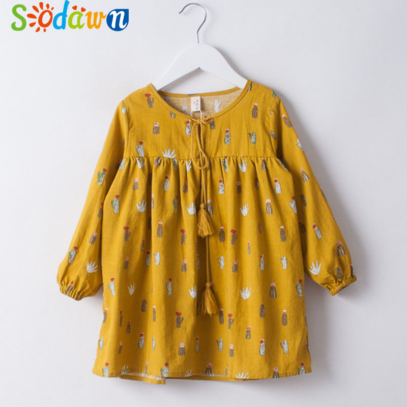 So dawn Children Dresses Spring Autumn New Cactus Tassel Lace Print Girl Clothes Long-Sleeved Princess Dress Kids Clothing