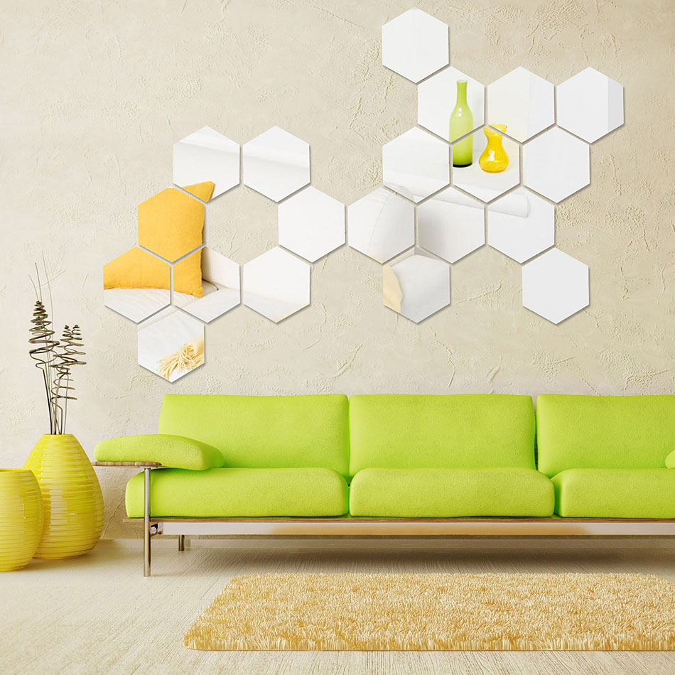 12 Pieces Lot Acrylic 3d Mirror Geometric Hexagon Sticker Diy Home Decor Art