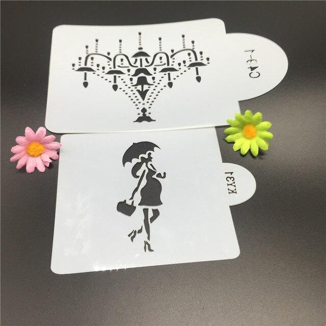 2 Stücke Kronleuchter Mädchen Kuchen Diy Dekorieren Form Design  Modellierung Schablone Fondant Muster Druck Spray Vorlage