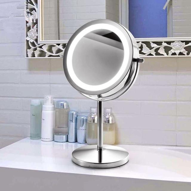 7 Pulgadas Espejo De Aumento Con Luz Led 1 3x Acero Inoxidable Cromo