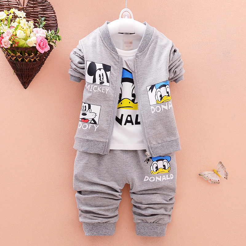 New Boys Girls Clothing Sets Spring Autumn Cartoon Cotton Children Coat Tshirt Pants 3 piece Suit Kids Clothes Set Gift for Baby 2016 hot children clothing set baby girls boys autumn spring suit hoodies pants cartoon clothes kids sportswear kids clothes