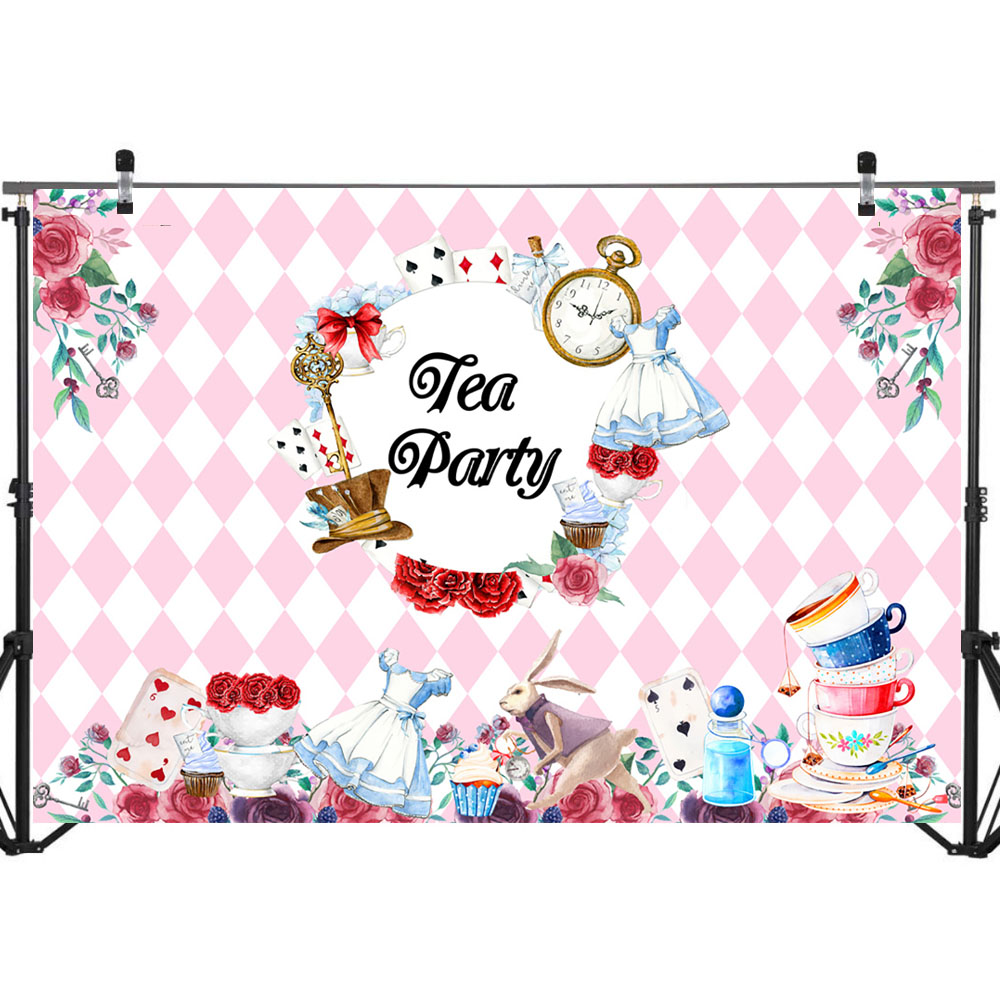 Neoback Rose Tea Party Photography Backdrops Playing Card Tea set Pink White Plaid Leisure Photo Background Photophone in Background from Consumer Electronics