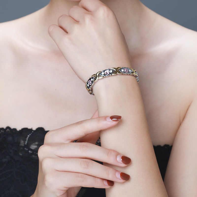 MNWT 2018 Новый Кристальный браслет с драгоценными камнями женские магнитные здоровья био энергии браслеты для женщин модные золотые ювелирные изделия Рождественский подарок леди