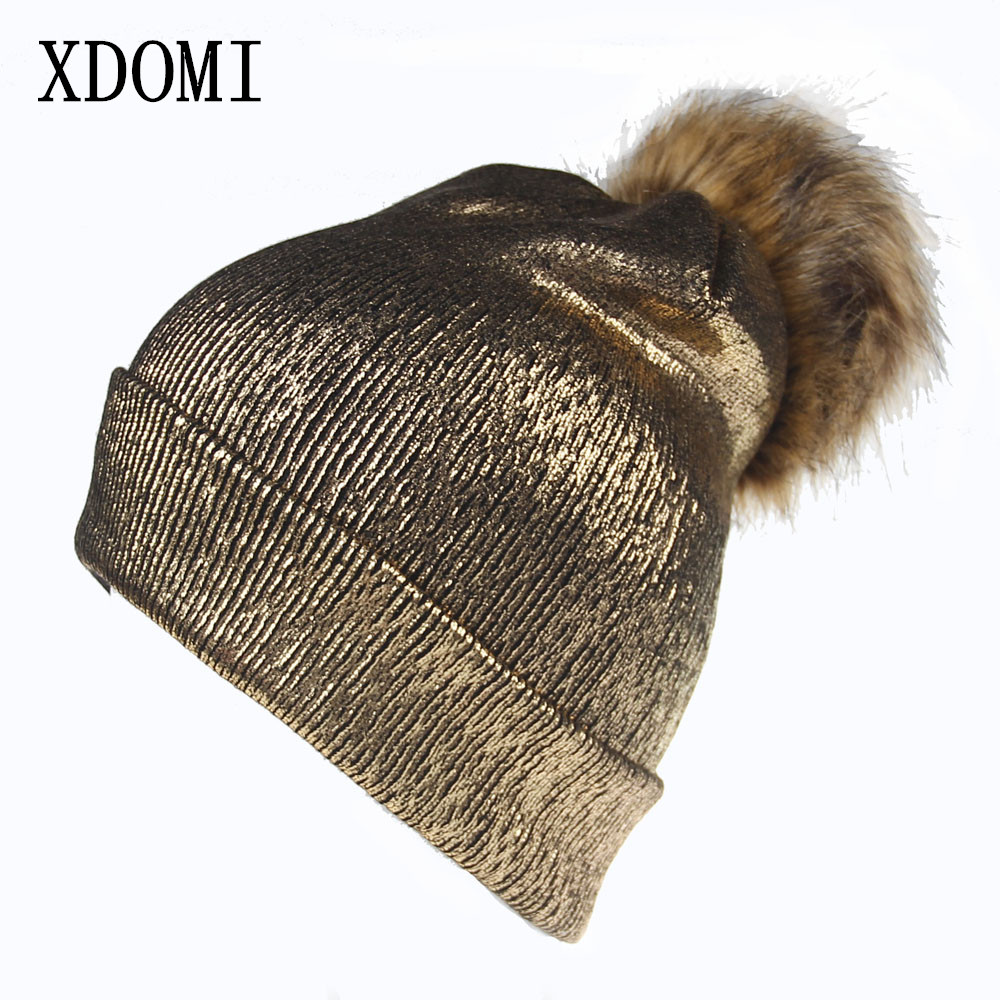 XDOMI New Winter Beanies Ladies Knitted Warm Hats Fashion Pom Pom Real Raccoon Fur Caps Skullies Hat For Women Print Fur Cap new new for porsche cayenne 2011 2016 chrome metal side door armrest stripe lid trim 6pcs