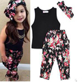 Girls Fashion floral casual suit children clothing sleeveless outfit +headband 2016 summer new luxury brand kids clothes set