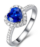 Sri Lanka Royal Blue Natural Sapphire Diamond Ring 18k Gold Heart Shaped Colored Stones Rings For