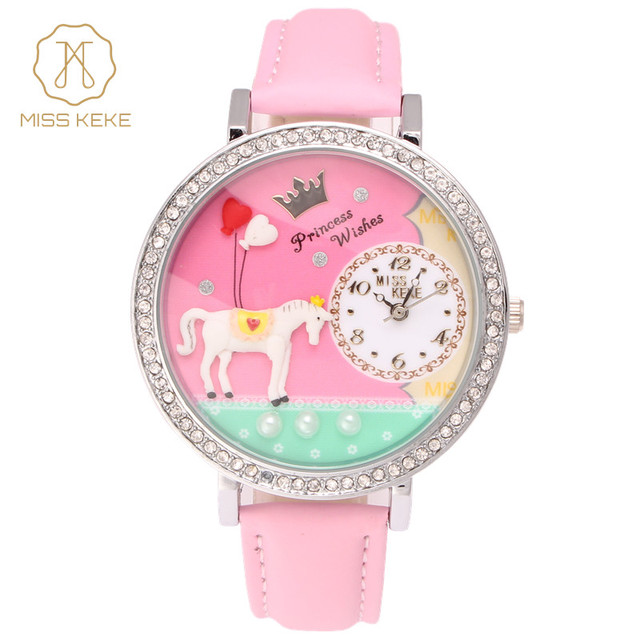 Miss Keke Lovely Girls Cartoon Quartz Watches Diamond Handmade 3D Clay Watch Children Bracelet Leather Dress Wrist Watches 1018