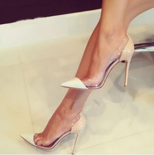 Clear PVC Transparent High Heels Women Shoes Pointed Toe Stiletto Heels Party Shoes White Nude Gold Red Patent Leather Pumps Комедон