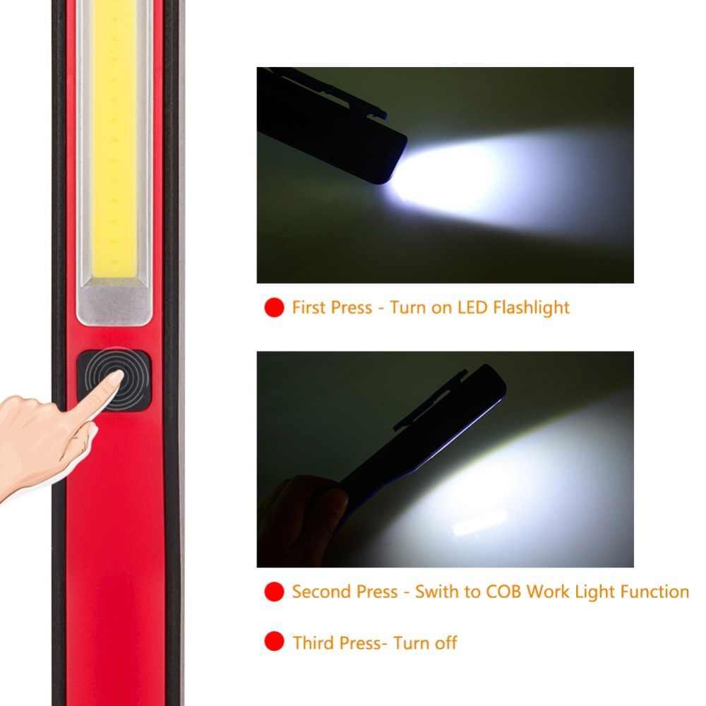 Мини COB светодиодный светильник-ручка с магнитным зажимом USB Перезаряжаемый Рабочий фонарь, светильник-вспышка