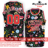 Horlohawk 2017 New Basketball Jersey Custom Embroidery Name Number Logo US Size Men's Print Flowers Black Jersey Red Letters