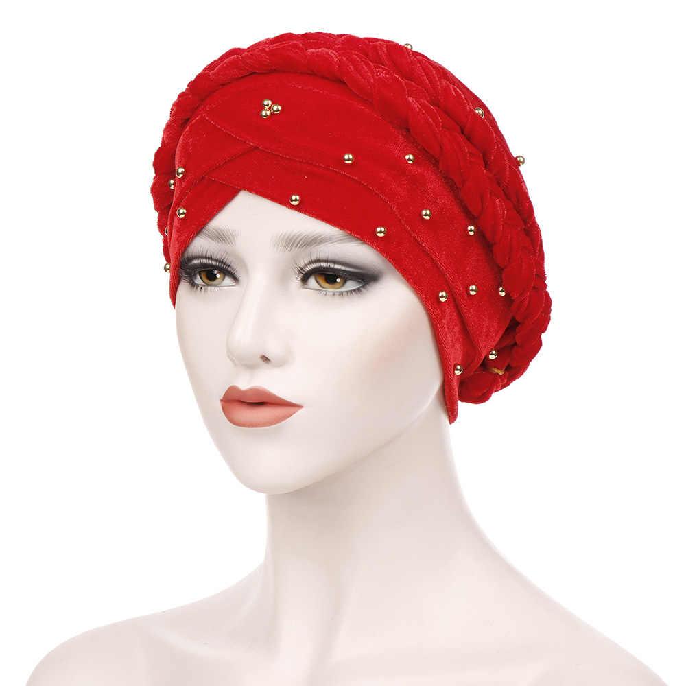 Helisopus новая оплетка из бисера тюрбан модное однотонное бархатное головной убор шапочки мусульманская повязка на голову женская аксессуары для волос